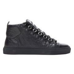 new BALENCIAGA Arena Black Calf high top sneakers EU42 US9 412381 WAY40 1000