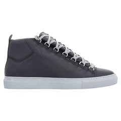 new BALENCIAGA Arena black leather grey outsole laced high top sneakers EU41 US8