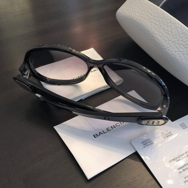 New Balenciaga Black Reflective Sunglasses With Case For Sale 6