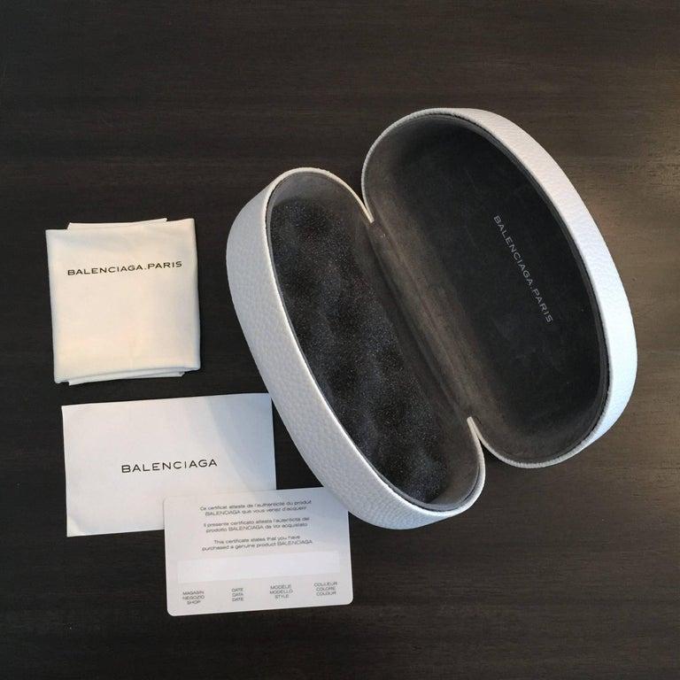 New Balenciaga Black Reflective Sunglasses With Case For Sale 7