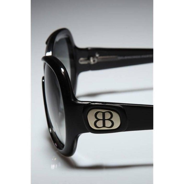 New Balenciaga Black Reflective Sunglasses With Case For Sale 2