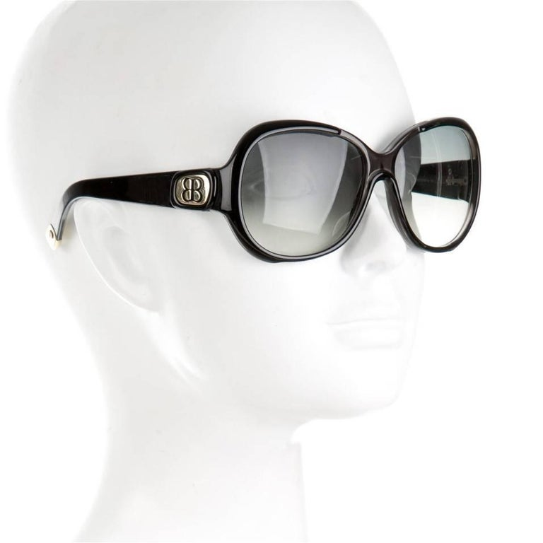 New Balenciaga Black Reflective Sunglasses With Case For Sale 3