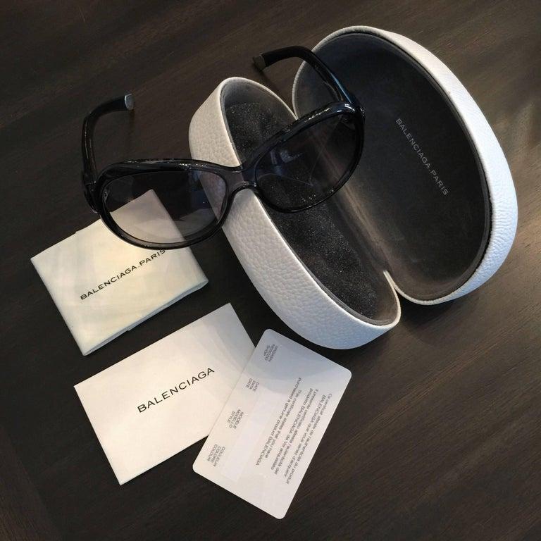 New Balenciaga Black Reflective Sunglasses With Case For Sale 4