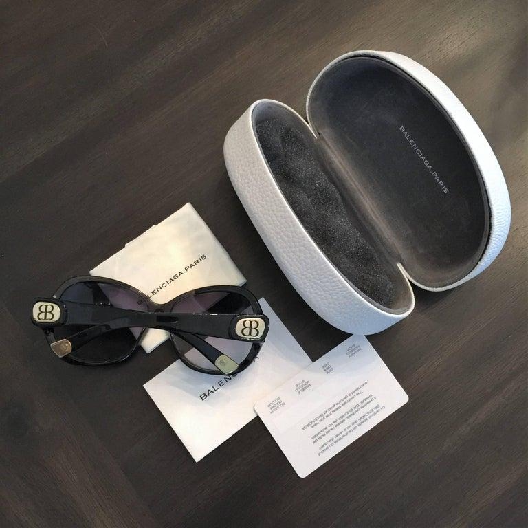 New Balenciaga Black Reflective Sunglasses With Case For Sale 5