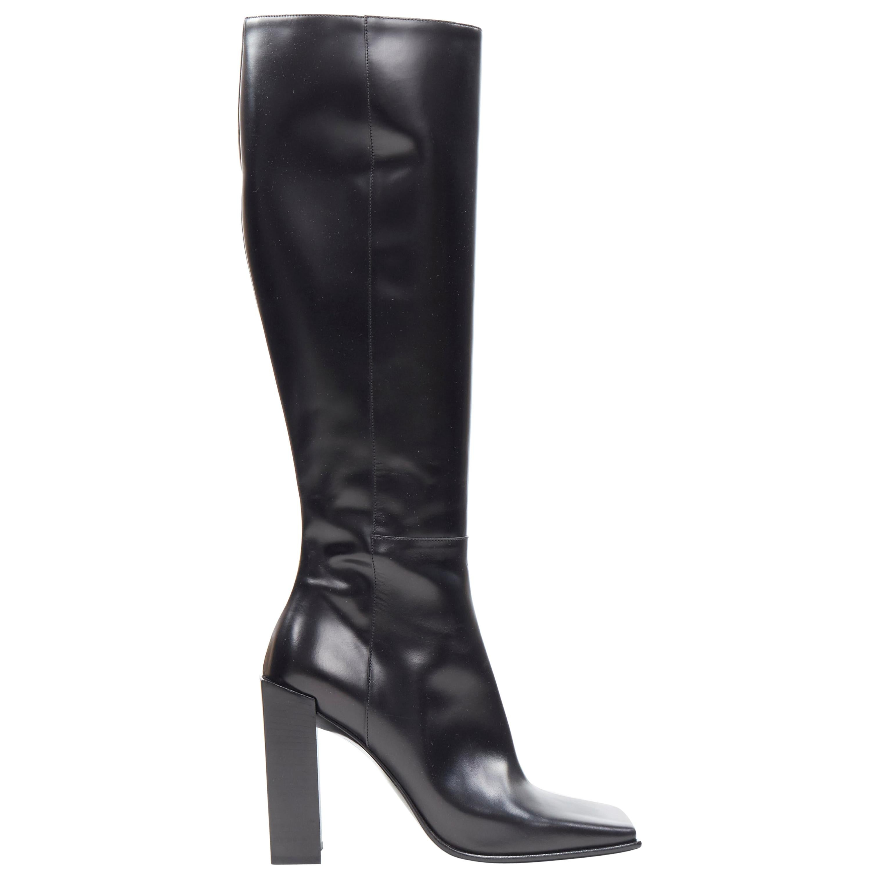 new BALENCIAGA DEMNA square toe exaggerated rectangular block heel boots EU38