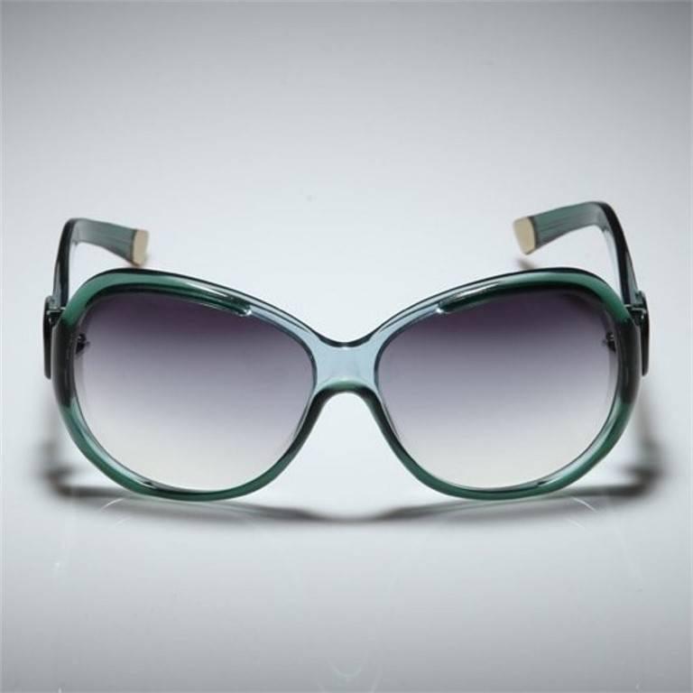 Women's New Balenciaga Emerald Green Reflective Sunglasses With Case For Sale