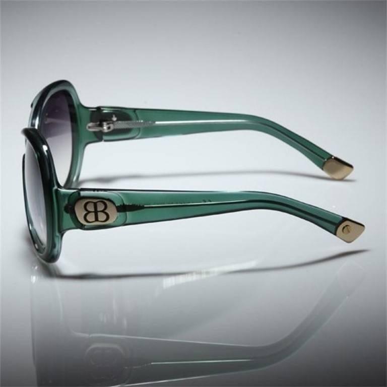 New Balenciaga Emerald Green Reflective Sunglasses With Case For Sale 1