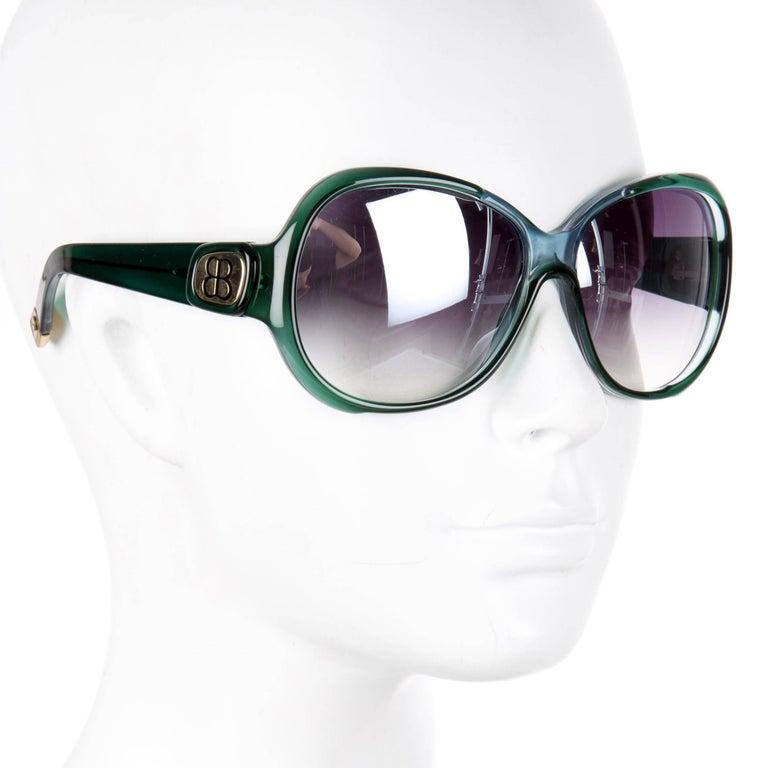 New Balenciaga Emerald Green Reflective Sunglasses With Case For Sale 2