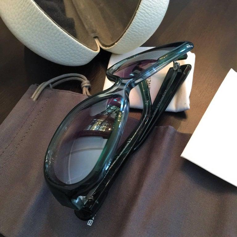 New Balenciaga Emerald Green Reflective Sunglasses With Case For Sale 5