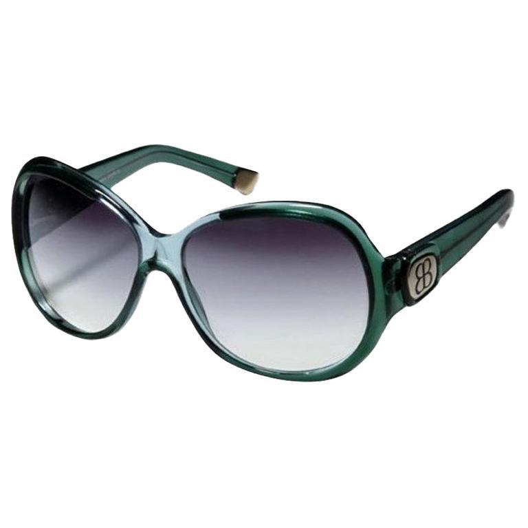 New Balenciaga Emerald Green Reflective Sunglasses With Case For Sale