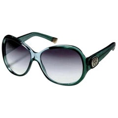 New Balenciaga Emerald Green Reflective Sunglasses With Case