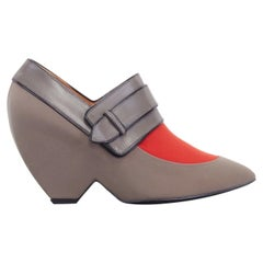 new BALENCIAGA GHESQUIERE AW12 grey orange pointy wedge heel shoes EU38 US8 UK5