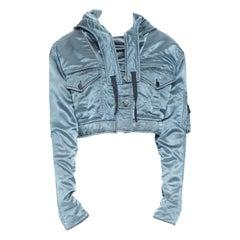new BALENCIAGA metallic blue hooded cropped utilitarian bomber jacket FR36 S