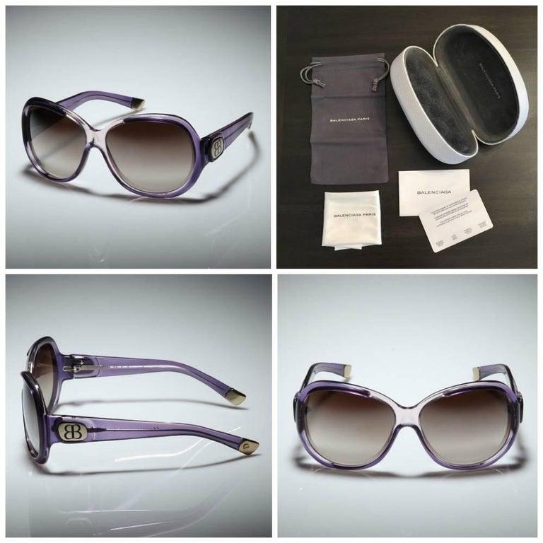 Gray Balenciaga Purple Reflective Sunglasses  For Sale