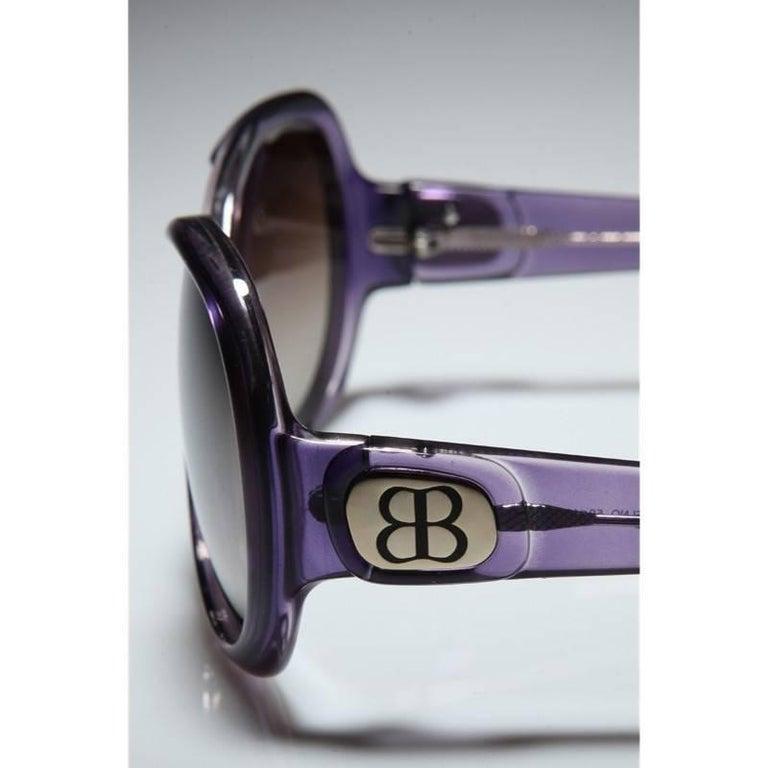 New Balenciaga Purple Reflective Sunglasses With Case For Sale 1