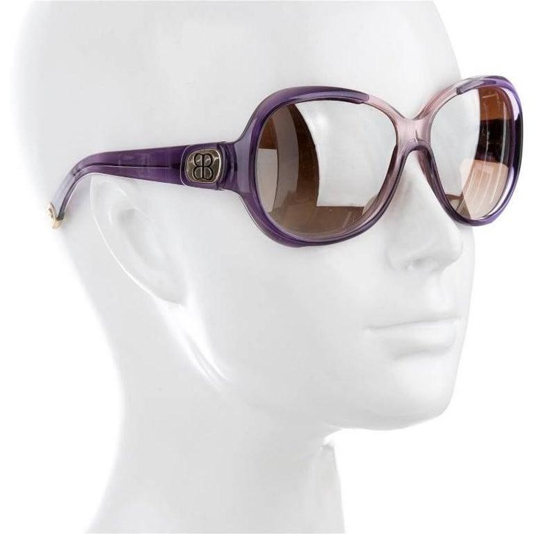 New Balenciaga Purple Reflective Sunglasses With Case For Sale 2