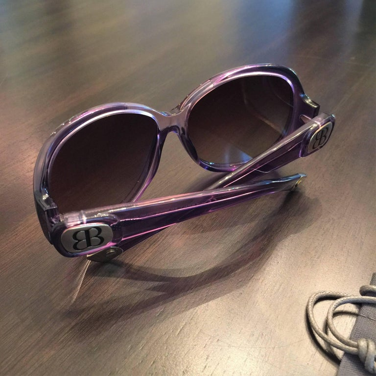 New Balenciaga Purple Reflective Sunglasses With Case For Sale 3