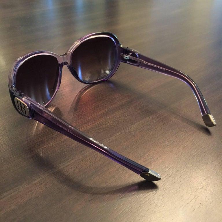 New Balenciaga Purple Reflective Sunglasses With Case For Sale 4