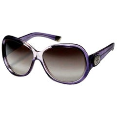 New Balenciaga Purple Reflective Sunglasses With Case