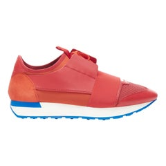 new BALENCIAGA Race Runner red white low sneakers EU41 US8 506328 W0YXS 6501