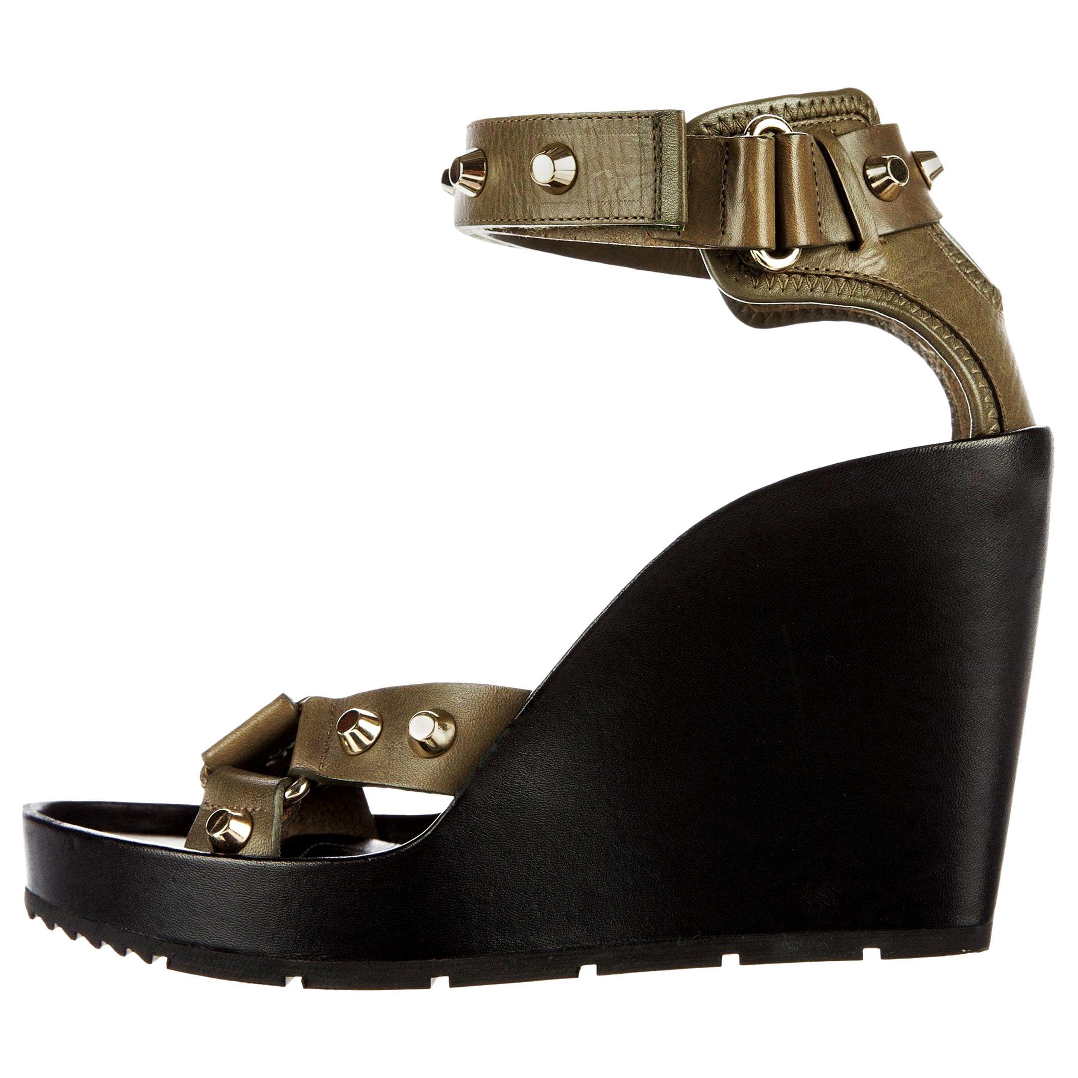New Balenciaga Studded Platform Wedge Heels Sz 37.5