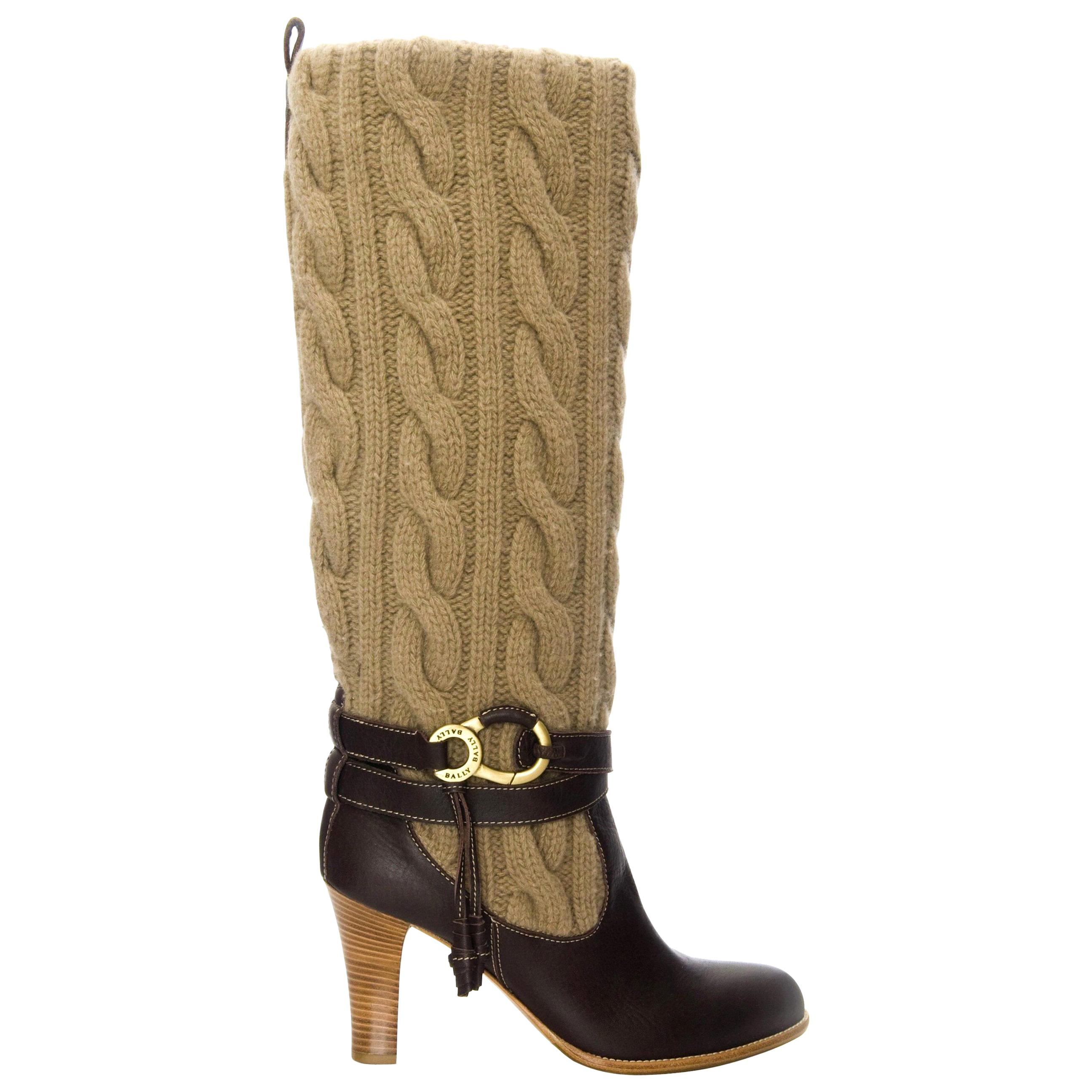 New Bally Knit and Leather Boots Sz 40.5