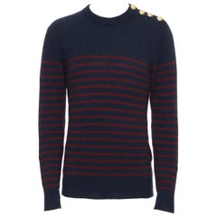 new BALMAIN 100% cashmere blue red stripe gold military button knit sweater S