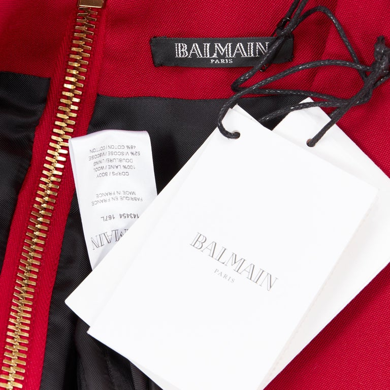 new BALMAIN 100% wool red gold military button shoulder padded mini dress Fr38 For Sale 6