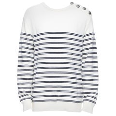 new BALMAIN 100% wool white blue nautical stripe military button knit sweater XL