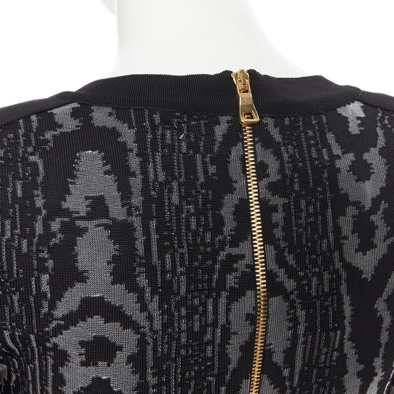 new BALMAIN black abstract jacquard V-neck shoulder padded bodycon dress FR36 XS For Sale 5