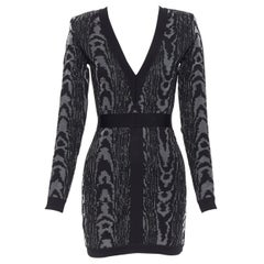 new BALMAIN black abstract jacquard V-neck shoulder padded bodycon dress FR36 XS