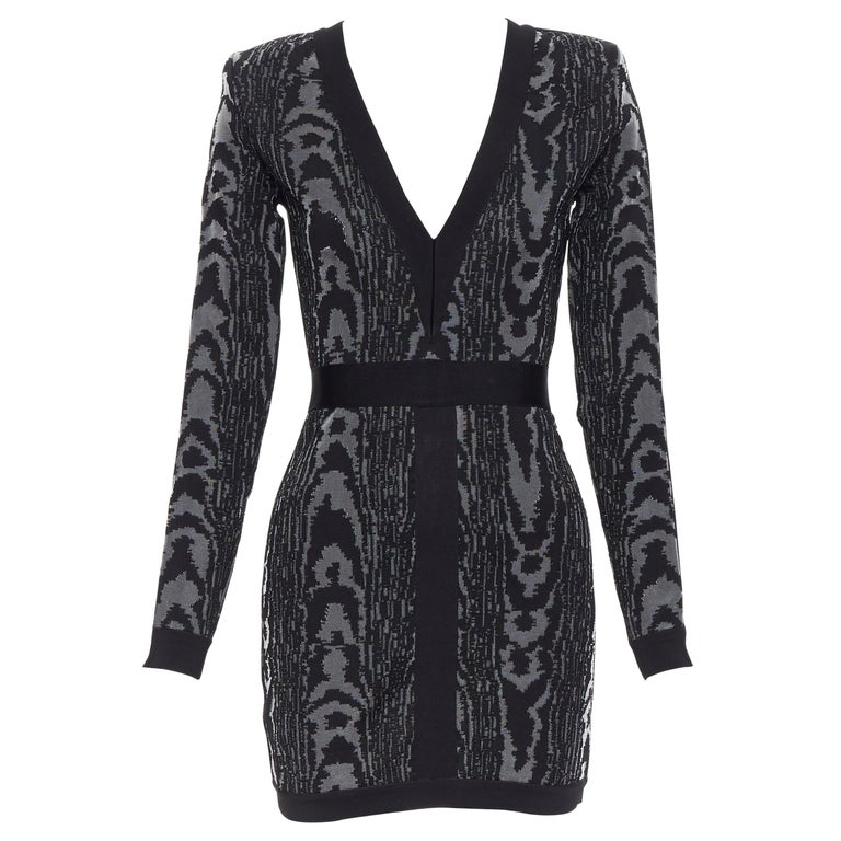 new BALMAIN black abstract jacquard V-neck shoulder padded bodycon dress FR36 XS For Sale
