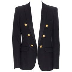 new BALMAIN black cotton silk peak lapel double breasted blazer jacket EU48 M