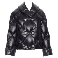 new BALMAIN black double breasted diamond goose down quilted puffer jacket FR34