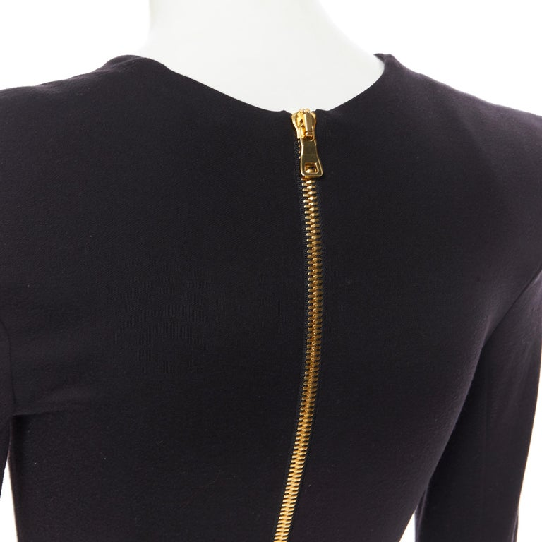 new BALMAIN black gold military coin harness chain necklace bodycon dress FR34 For Sale 5