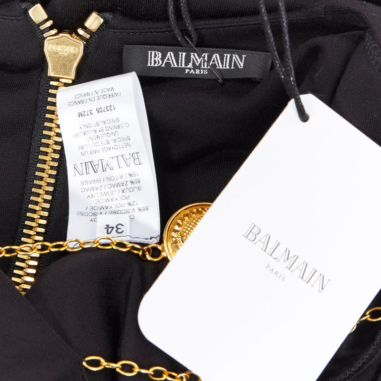 new BALMAIN black gold military coin harness chain necklace bodycon dress FR34 For Sale 6