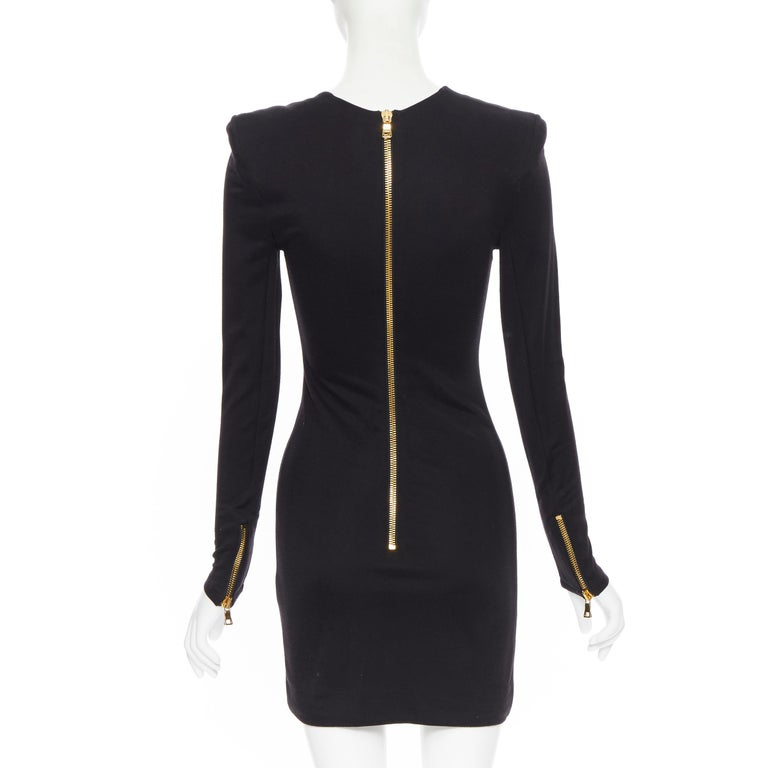 new BALMAIN black gold military coin harness chain necklace bodycon dress FR34 For Sale 1