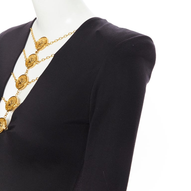 new BALMAIN black gold military coin harness chain necklace bodycon dress FR34 For Sale 3
