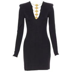new BALMAIN black gold military coin harness chain necklace bodycon dress FR34