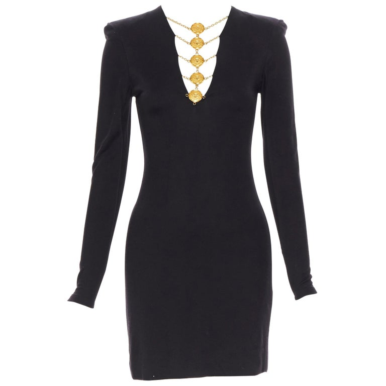 new BALMAIN black gold military coin harness chain necklace bodycon dress FR34 For Sale