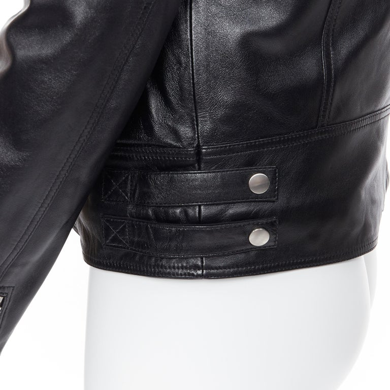 new BALMAIN black lambskin padded Perfecto moto biker leather jacket EU48 M Brand: Balmain Designer: Olivier Rousteing Model Name / Style: Leather biker Material: Leather Color: Black Pattern: Solid Closure: Zip Extra Detail: BALMAIN style code: