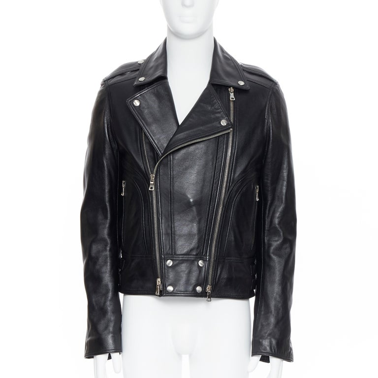 new BALMAIN black lambskin padded Perfecto moto biker leather jacket EU48 M In New Condition For Sale In Hong Kong, NT