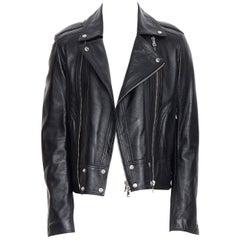 new BALMAIN black lambskin padded Perfecto moto biker leather jacket EU48 M