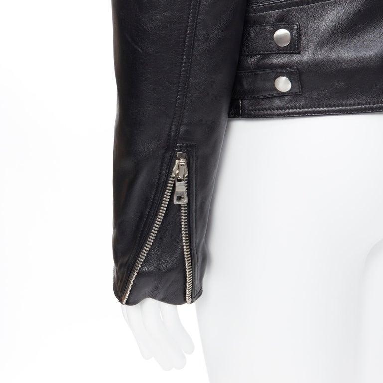 new BALMAIN black lambskin padded Perfecto moto biker leather jacket EU50 L For Sale 5