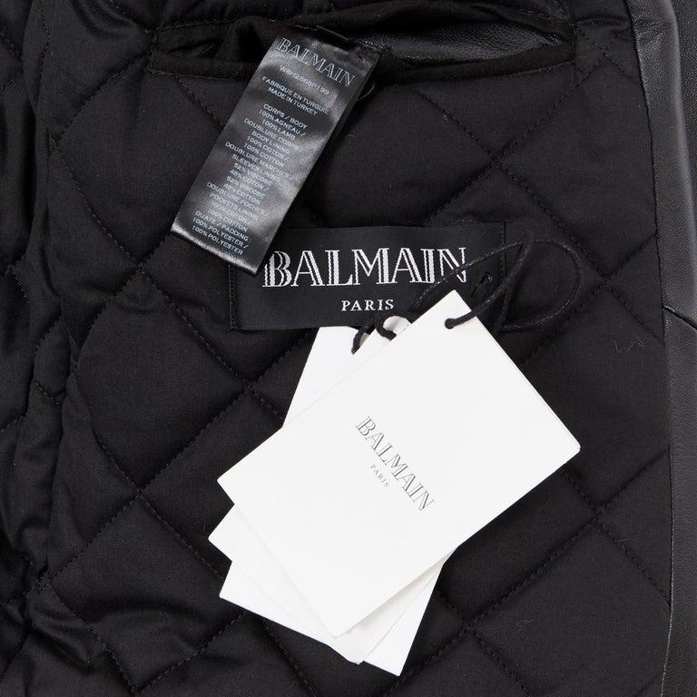 new BALMAIN black lambskin padded Perfecto moto biker leather jacket EU50 L For Sale 7