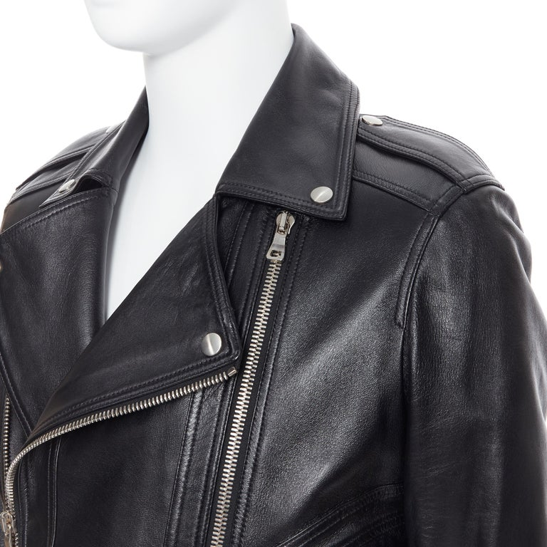 new BALMAIN black lambskin padded Perfecto moto biker leather jacket EU50 L Brand: Balmain Designer: Olivier Rousteing Model Name / Style: Leather biker Material: Leather Color: Black Pattern: Solid Closure: Zip Extra Detail: BALMAIN style code: