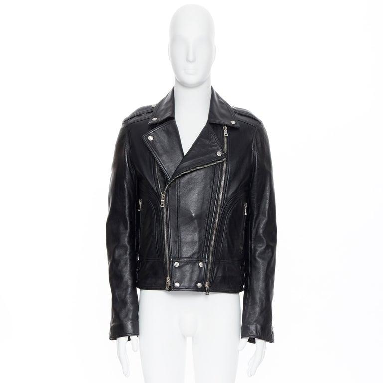 Black new BALMAIN black lambskin padded Perfecto moto biker leather jacket EU50 L For Sale