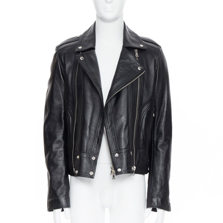 new BALMAIN black lambskin padded Perfecto moto biker leather jacket EU50 L In New Condition For Sale In Hong Kong, NT