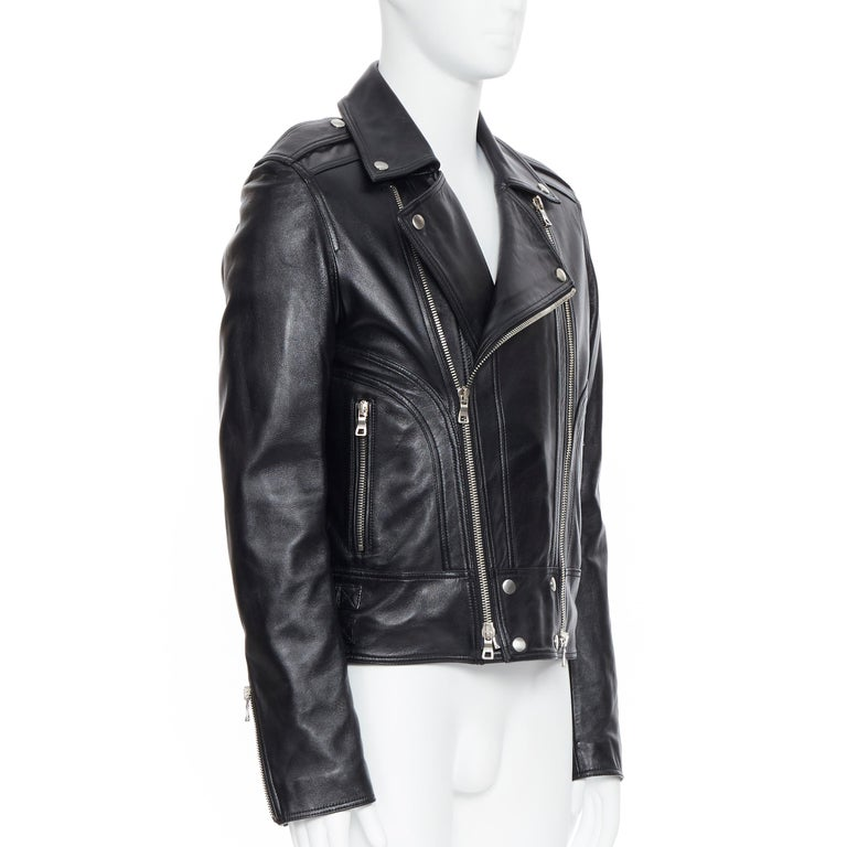 Men's new BALMAIN black lambskin padded Perfecto moto biker leather jacket EU50 L For Sale