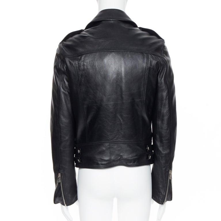 new BALMAIN black lambskin padded Perfecto moto biker leather jacket EU50 L For Sale 2